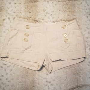 Express Tan Linen Blend Button Embellished Shorts